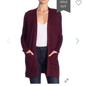 Cyrus burgundy red waffle cardigan with pockets